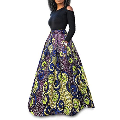Raylans Women's African Floral Print Two Pieces A Line Long Skirt Maxi Dress Yellow Purple L by Raylans