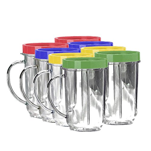 Lutema Replacement Juicer Cups 16oz. - Party Cup Mugs Compatible with Original Magic Bullet ... (8 Pack)