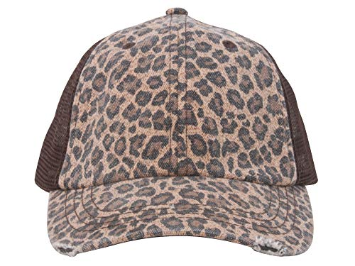 Wholesale Low Profile Soft Structured Canvas Leopard Print Cap (Brown) - 22065 - Leopard Vintage Hat
