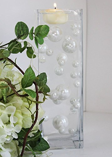 Easy Elegance - 34 ALL WHITE Pearl Beads w/12 grams Jelly BeadZ Water bead gel pearls - Wedding Centerpieces and Decorations by JELLY BEADZ