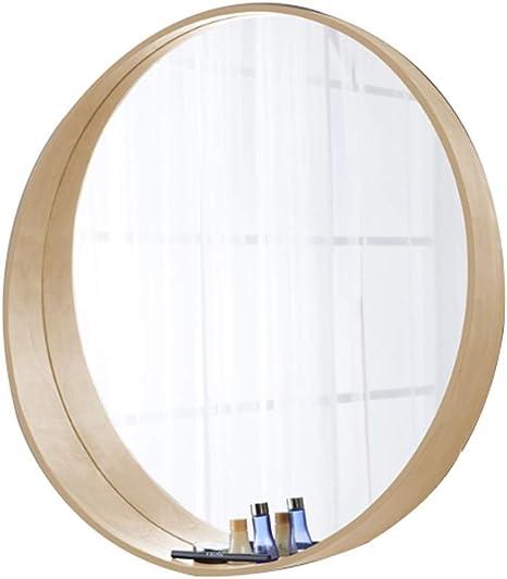 Modern Round Wall Mirror Large Wooden Frame Decorative Mirror For Bathroom Living Room Corridor Diameter 50 60 70cm Color White Oak Size 50 50cm Amazon Co Uk Kitchen Home