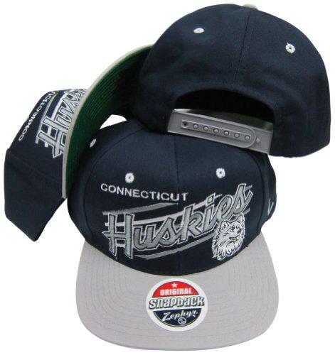 ZHATS Connecticut Huskies Diagonal Script Navy/Grey Two Tone Snapback Adjustable Hat/Cap