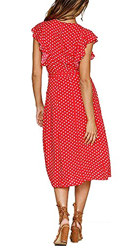 BTFBM Women's 2018 V Neck Polka dot High Waist Tie Bow Streetwear Boho Maxi Dress Without Belt (Red, Medium) by BTFBM (Image #1)