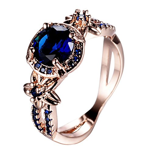 [CHIC Classic Vintage Blue Sapphire Flower Rings For Women Wedding Jewelry 18K Rose Gold Filled CZ Diamond Ring Fashion Jewelry] (Jade Vermeil Brooch)