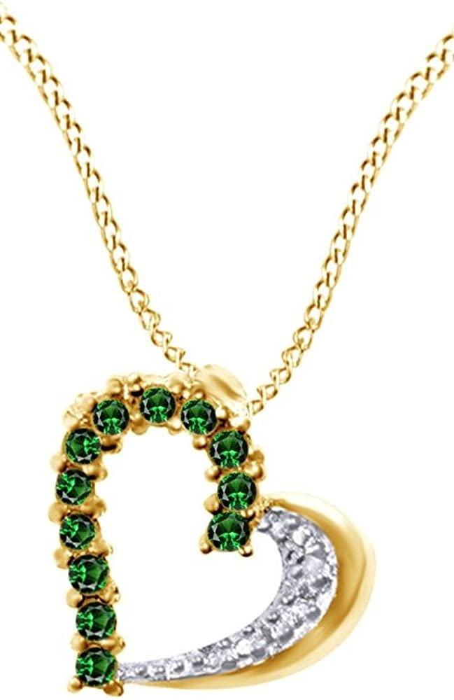 0.5 Ct Jewel Zone US Simulated Green Emerald /& Natural Diamond Accents Heart Pendant Necklace 925 Sterling Silver