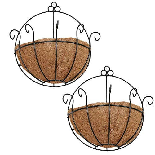 - PERTTY 2 Pcs Iron Wall Hanging Planters Basket 9.8 inches Half Round Plant Flower Wall Holder with Coco Coir Liner Plant Hanger Decoration for Garden Porch Balcony Indoor Outdoor