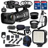 Canon XF305 HD Professional Camcorder + Wideangle Lens + Telephoto Lens + Lens Hood + 2 PC 64 GB Memory Cards + Tripod + LED Light + Backpack Case + 3 PC Filter Kit + Microphone + 4 PC Macrokit
