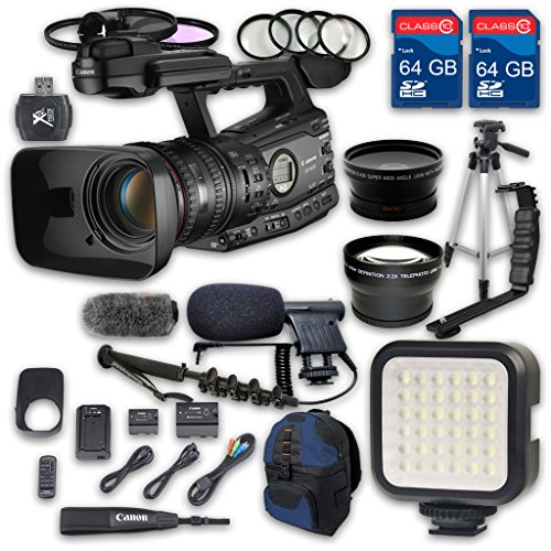 Canon XF305 HD Professional Camcorder + Wideangle Lens + Telephoto Lens + Lens Hood + 2 PC 64 GB Memory Cards + Tripod + LED Light + Backpack Case + 3 PC Filter Kit + Microphone + 4 PC Macrokit by ALS VARIETY