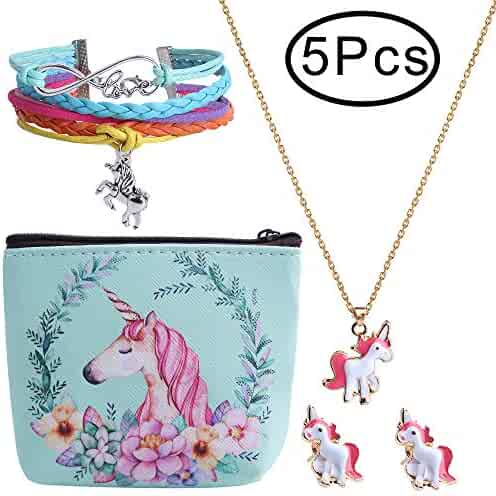 Hicdaw 5PCS Girls Gift for Unicorn Include Bracelet Stud Earrings Storage Bag Necklace for Unicorn