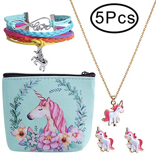 Hicdaw 5 Pcs Jewelry Set for Unicorn Gift for Girls Included Friendship Bracelet Cute Stud Earrings Storage Bag Necklace