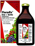 Floradix Liquid Iron + Herbs Supplement 17 oz LARGE - All Natural, Vegetarian, Vitamin C, Non Constipating - Supports Iron Deficiency & Anemia for Women & Men