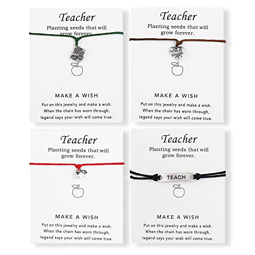 Best Wishes Gift - NELLONYA Show Your Teacher Appreciation Gift 4 Pcs Wish Card Teach Apple Charm Bracelets Open School Thank You Gifts for Women