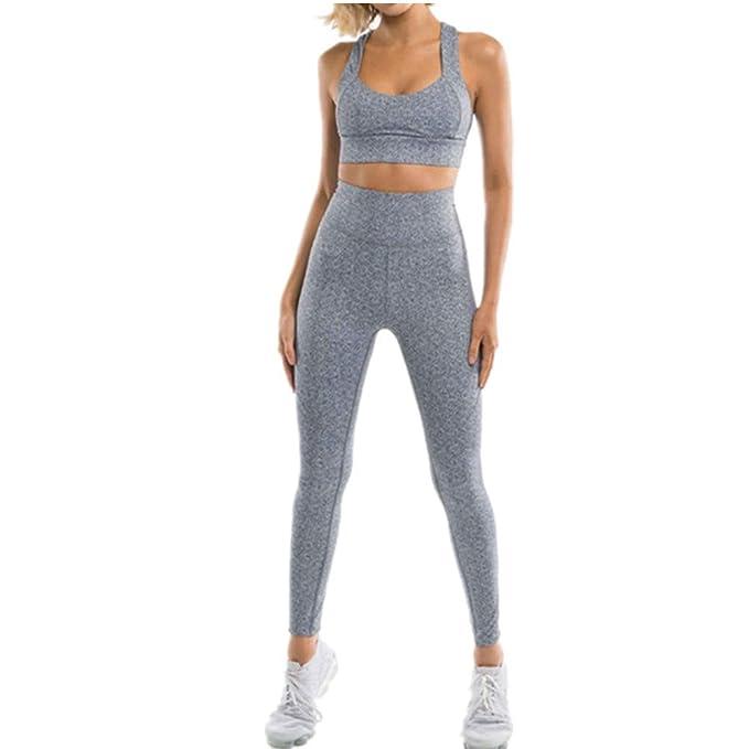 0a76ba5bdd Fansu Yoga Conjunto de Mujer, Chaleco Deportivo Top and Leggings Gimnasio  Ropa Chándal Sportwear para Gym Running Pilates Fitness Deportes:  Amazon.es: Ropa ...