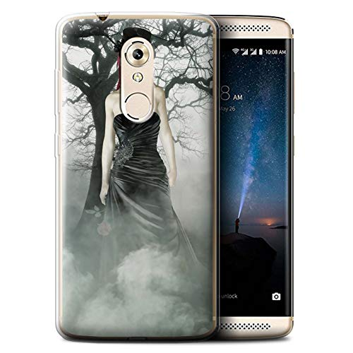 STUFF4 Gel TPU Phone Case/Cover for ZTE Axon 7 Mini/Black Dress Woman Design/Day of The Dead Festival ()