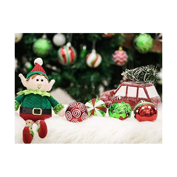 Victor's Workshop Addobbi Natalizi 9 Pezzi 6cm Palle di Natale, Delightful Elf Red Green And White Infrangibile Palla di Natale Ornamenti Decorazione per L'Albero di Natale 6 spesavip