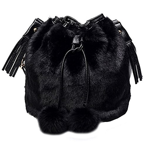 Black Bag Crossbody Fur Plush Women Shoulder Bag Handbag Tassel Faux Millya Winter Drawstring Fluffy Bucket Bag qCTZT