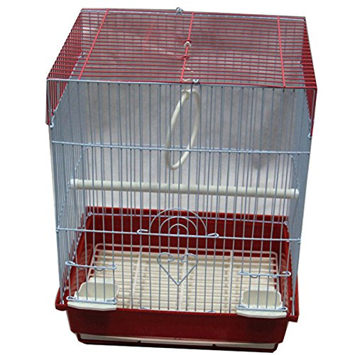 Iconic Pet Flat Top Bird Cage, Small, Red