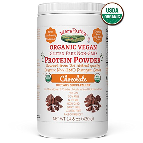 ORGANIC PROTEIN POWDER Plant-Based (Fair Trade Creamy Chocolate Fudge) by MARYRUTH Vegan, Gluten Free, Non-GMO, Soy Free, Dairy Free, Nut Free, No Fillers, No Additives, Paleo Friendly 14.8 (Non Gmo Soy Protein Powder)