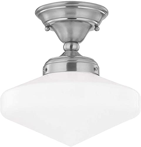 10 Inch Semi Flushmount Vintage Retro Style Schoolhouse Ceiling Light with Satin Nickel Finish and Opal White Milk Glass Shade