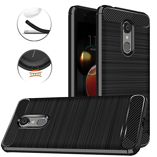 Price comparison product image LG Tribute Dynasty Case,  LG Zone 4 Case,  LG Aristo 2 Case,  LG Fortune 2 Case,  Dretal Carbon Fiber Anti-fingerprint Shock Resistant Brushed Texture Soft Flexible TPU Protective Cover Case (Black)