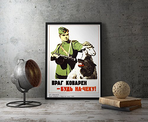 UpCrafts Studio Design WWII Russian Propaganda Poster 8.3 x 11.7 - WW2 Soviet anti German Propaganda Prints Reproduction - Military Wall Art Decor for Home, Office, Living Room, Bedrooms