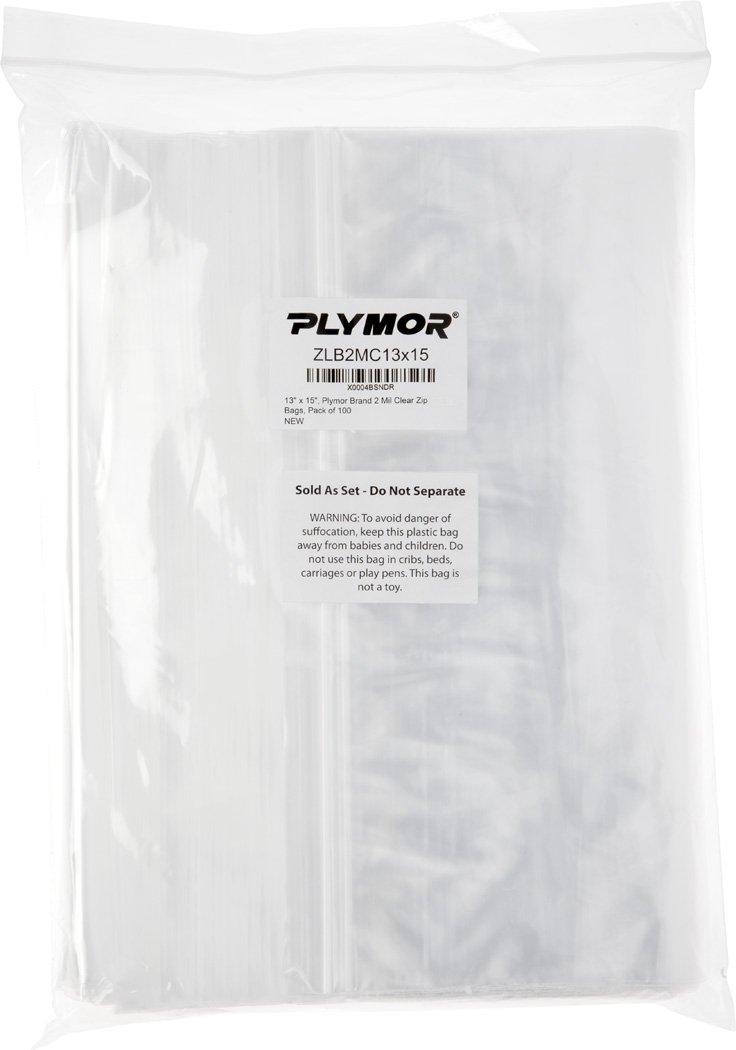 Plymor 13'' x 15'', 2 Mil (Pack of 100) Zipper Reclosable Plastic Bags