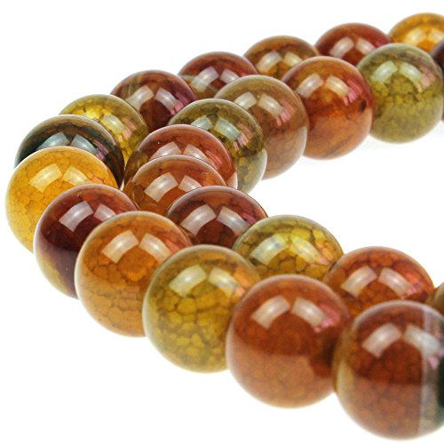 JARTC Natural Stone Beads Tea Color Dragon Veined Agate Round Loose Beads for DIY Necklace Bracelat Jewelry Making 15