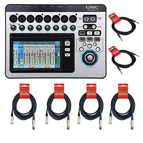 QSC TouchMix-8 Compact Digital Mixer CABLE KIT w/ XLR & 1/4'' Cables by QSC