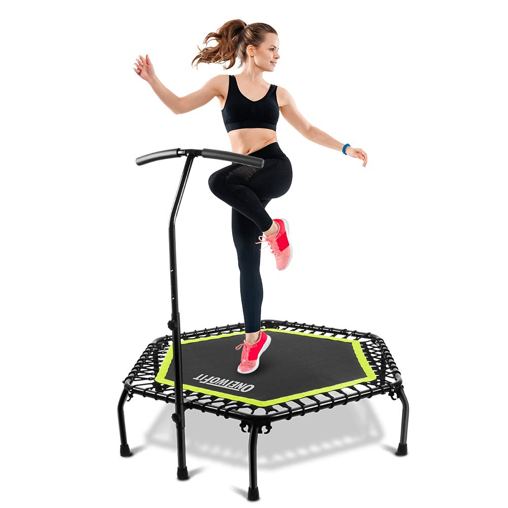 ONETWOFIT 45 Silent Mini Trampoline with Adjustable Handle Bar Fitness Trampoline Bungee Rebounder Jumping Cardio Trainer Workout for Female or Kids Supports to 176 Lbs 80kg OT122