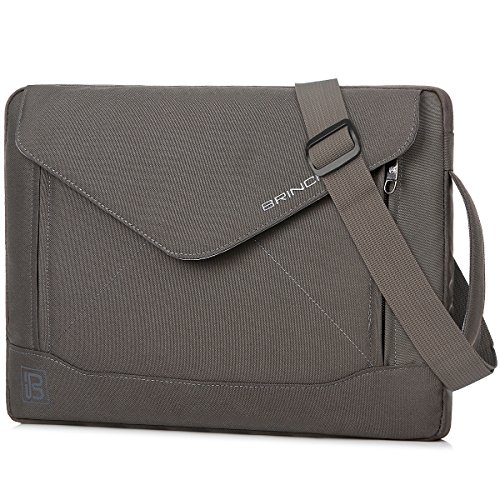 BRINCH Durable Envelope Nylon Fabric 14 Inch Laptop/Notebook / MacBook/Ultrabook/Tablet Computer Bag Shoulder Carrying Envelope Case Pouch Sleeve with Shoulder Strap Pockets and Card Slots (Grey)