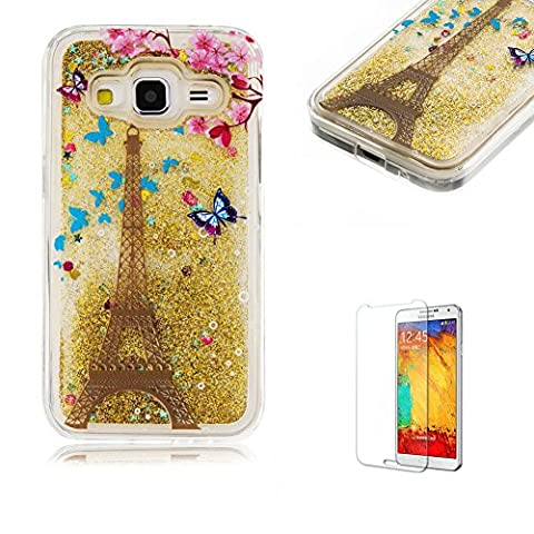 Galaxy Core Prime Case with Free Screen Protector,Funyye Unique Soft TPU Crystal Clear Glitter Bling Sparkle Flowing Liquid Colourful Print Cover Shell for Galaxy Core Prime - Eiffel Tower