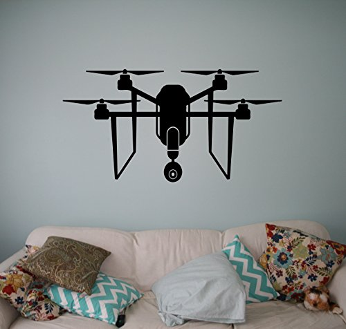 Spy Drone Wall Vinyl Decal Aircraft Quadcopter Wall Sticker Aircraft Home Wall Art Decor Ideas Interior Removable Kids Room Design 3(drn) by Wall Vinyl Decals