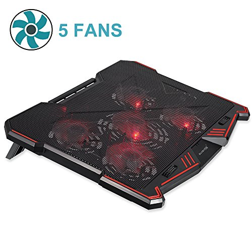 Laptop Cooling Pad BUJIAN 5 Powerful Fans and Red Led Lights with 13 wind speed (2600-5000RPM) and Ultra-slim and Skid Proof Design for 12-15.6 Inch Laptop (H-X5)