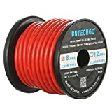 BNTECHGO 8 Gauge Silicone Wire Spool Red 25 feet Ultra Flexible High Temp 200 deg C 600V 8AWG Silicone Rubber Wire 1650 Strands of Tinned Copper Wire Stranded Wire for Model Battery Low Impedance