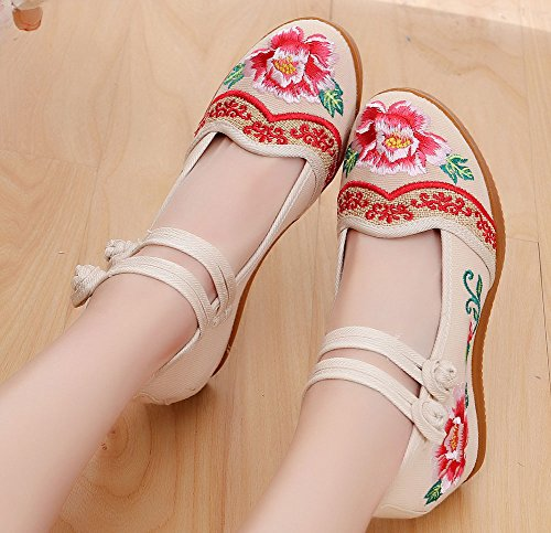 AvaCostume Womens Embroidery Rubber Sole Buckle Wedge Heel Shoes Beige 2cxfSa