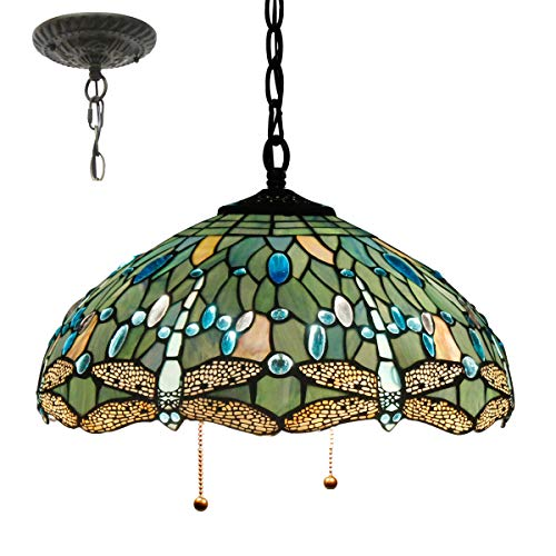 Tiffany Hanging Lamp 16 Inch Pull Chain Sea Blue Stained Glass Lampshade Crystal Bead Dragonfly Anqitue Chandelier Ceiling Style Pendant 2 Light Fixture for Dinner Room Living Room Bedroom S147 Copper Stained Glass Chandelier