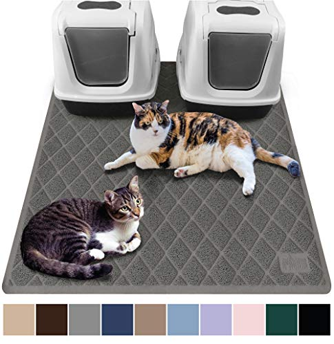 Gorilla Grip Original Premium Durable Multiple Cat Litter Mat, 47x35, XL Jumbo, No Phthalate, Water Resistant, Traps Litter from Box and Cats, Scatter Control, Mats Soft on Kitty Paws, Gray (Best Robot Vacuum For Cat Litter)
