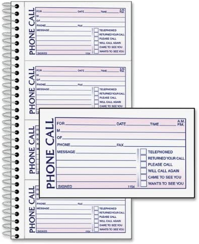 Adams SC1154-2D Phone Message Book, 5.25 x 11 Inch, Spiral Bound, 2-Part, Carbonless, 4 Messages per Page, 400 Sets, 2-Pack, White and Canary (S1154-2D)
