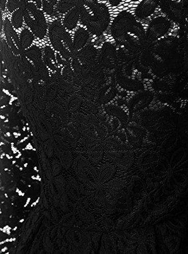 Dentelle Florale Vintage Femmes Keepsa Manches Longues Cocktail Col Bateau Robe Swing Formel Noir