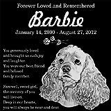 Personalized American Cocker Spaniel Dog Pet Memorial 12''x12'' Engraved Black Granite Grave Marker Head Stone Plaque BAR2
