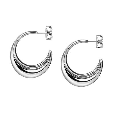 4e53f7b26 Calvin Klein KJ3XME000100 Ladies Fluid Silver Half Hoop Earring:  Amazon.co.uk: Jewellery