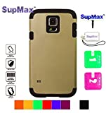 Samsung S5 Case,Galaxy S5 Cover Case,SupMax™ *Armor Defender* *TPU+PC* High Impact Resistant Dual Layer Dirtproof Scratchproof Shockproof Skidproof [Brand Gifts] for Samsung Galaxy S5 (Gold)