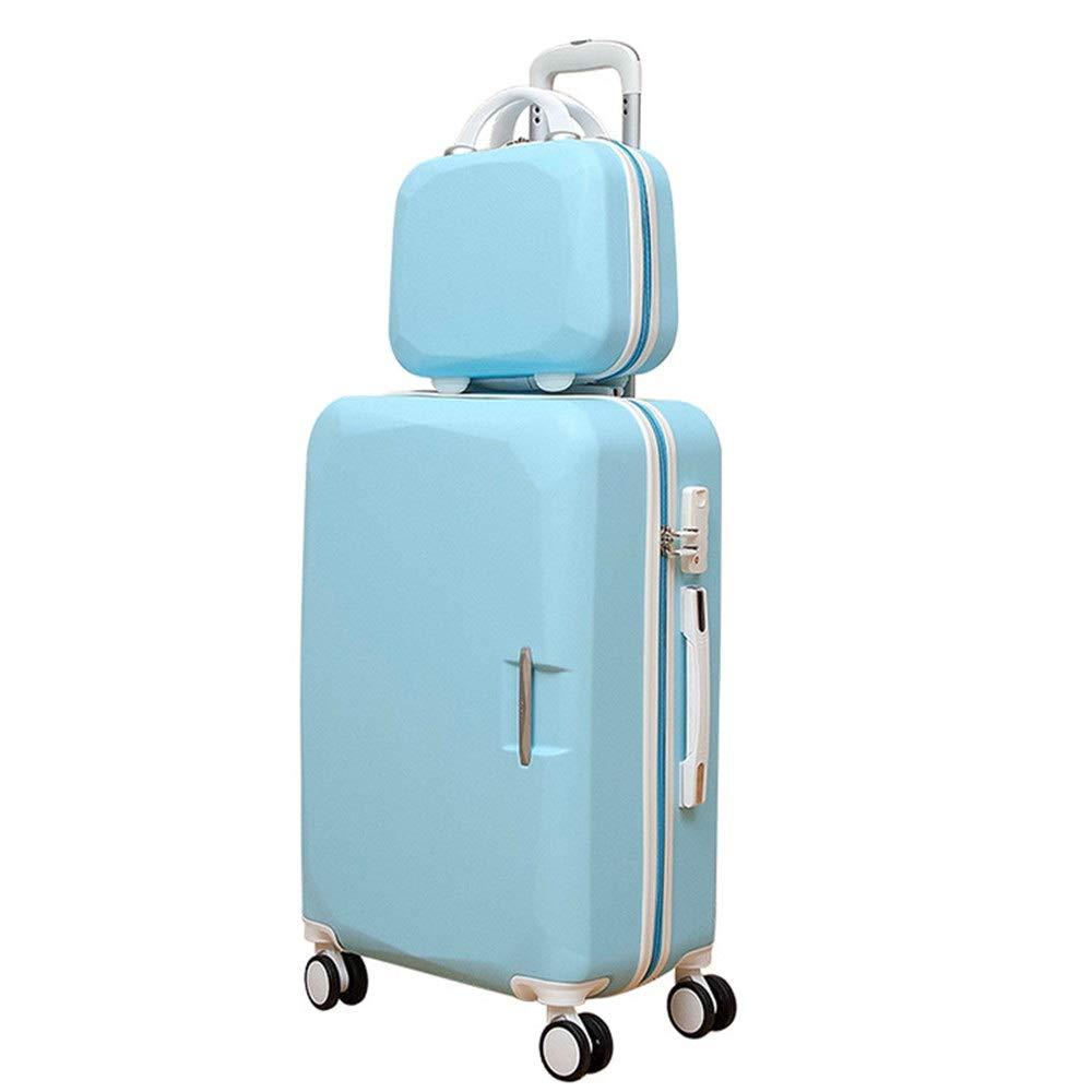スーツケース 2ピースキャリーオン回転荷物セットハードケースライト付きTSAロック荷物トロリーケースコラム荷物360°サイレントローテーター多方向航空機のフライトと搭乗20インチ14インチ/ 22インチ14インチ/ 24インチ14インチ (色 : 青, サイズ : 24in+14in) B07T36985C 青 24in+14in