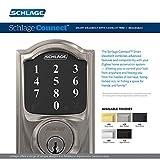 Schlage Connect Smart Deadbolt with Camelot trim in Satin Nickel, Zigbee Certified - BE468GBAK CAM 619