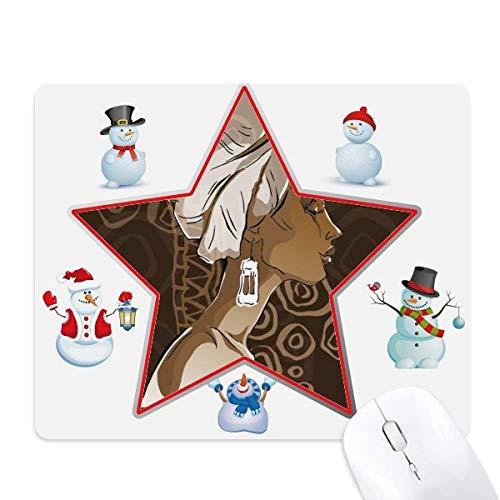 Alfombrilla para mouse con diseño de estrella de nieve, color negro africano