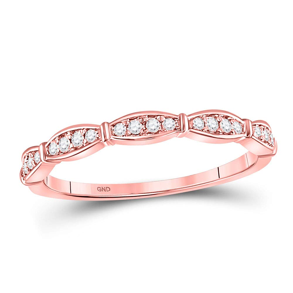 Dazzlingrock Collection 10kt Rose Gold Womens Round Diamond Stackable Band Ring 1/8 Cttw by Dazzlingrock Collection