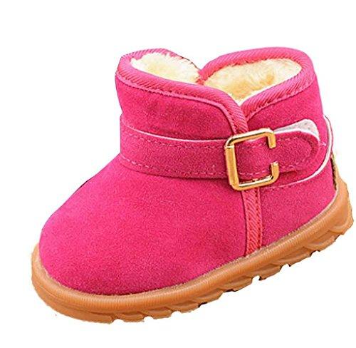 Covermason Winter Baby Schuhe Kinder Mädchen Jungen Baumwolle Stiefel Warm Schneestiefel Hot Pink B