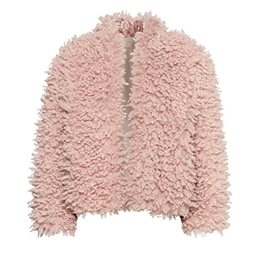 Abody Women Jacket Faux Fur Shaggy Long Sleeve Short Coat Outerwear with Button