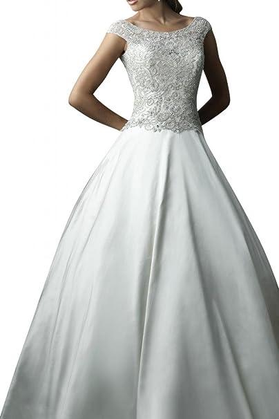 Toskana Luxus Vestidos de novia de largo Satin Princesa novia Vestidos novia Mode beige 36