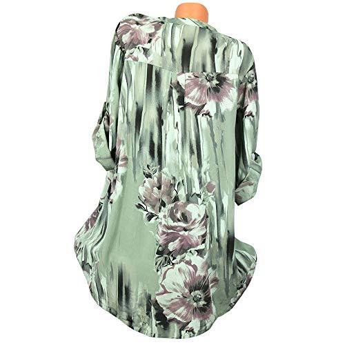 Vetement Ulanda Cher Chic Top Floral Femme Col Femmes Tee Shirt Lache Manches Mode Vert Femme T Blouse V EU Tunique Femme Chemisier Casual Tops Bouton Pas Longues Shirt en Imprim Shirt FxwrCF4qT